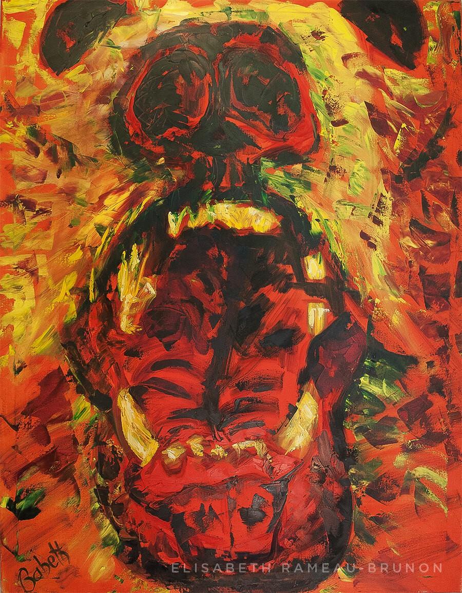 Toile, portrait d'un ours.