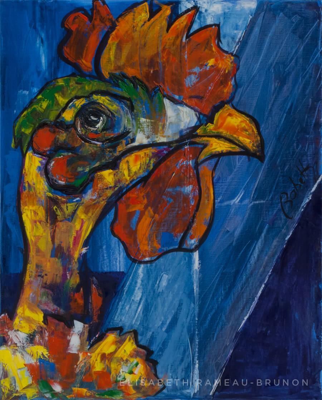 Toile, portrait d'une poule.