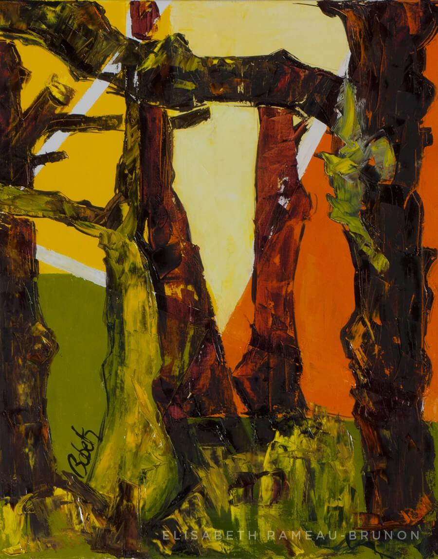 Toile, troncs d'arbres.