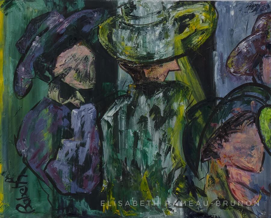 Première partie d'un diptyque sur des femmes avec des chapeaux.