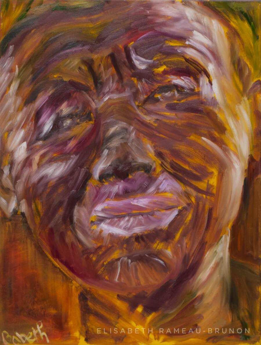 Toile, portrait d'une femme africaine.