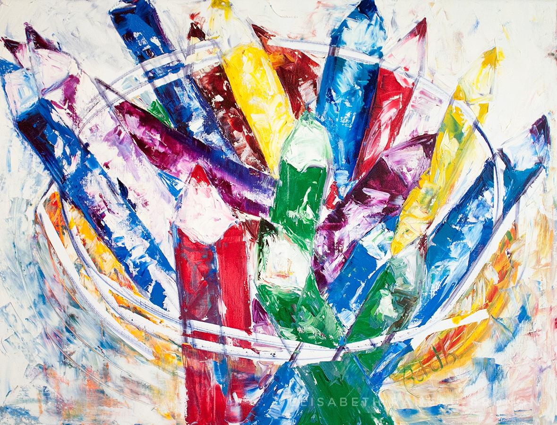 Œuvre représentant des crayons de couleurs dans un pot.