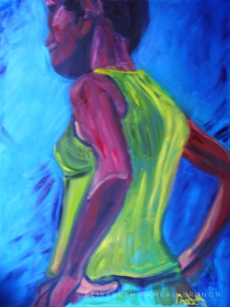 Toile représentant une femme de côté, mains sur les hanches.