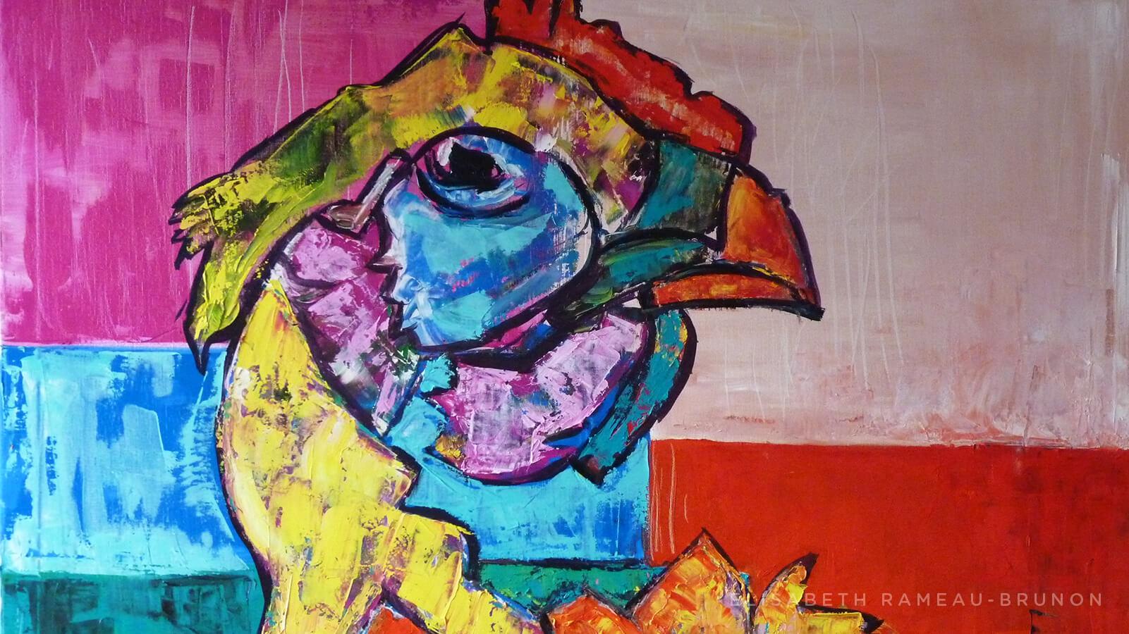 Œuvre représentant la tête d'une poule.