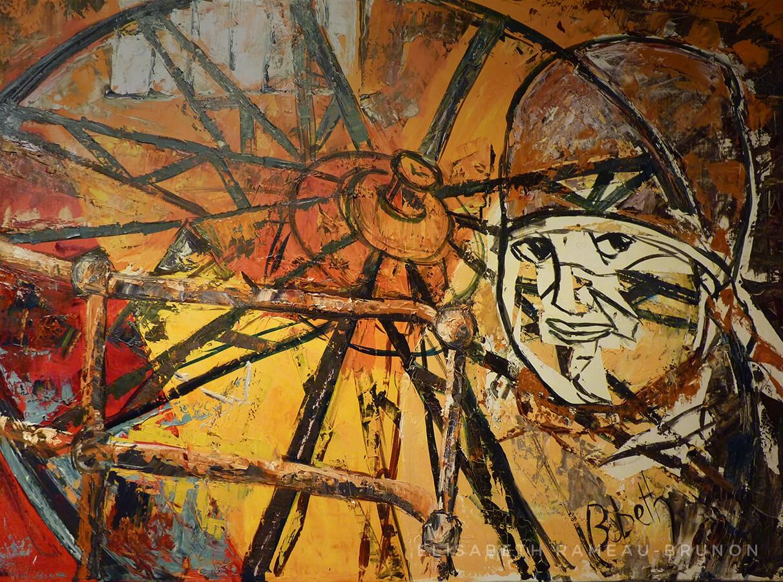 Toile représentant une roue et le portrait d'une clapeuse de la mine.