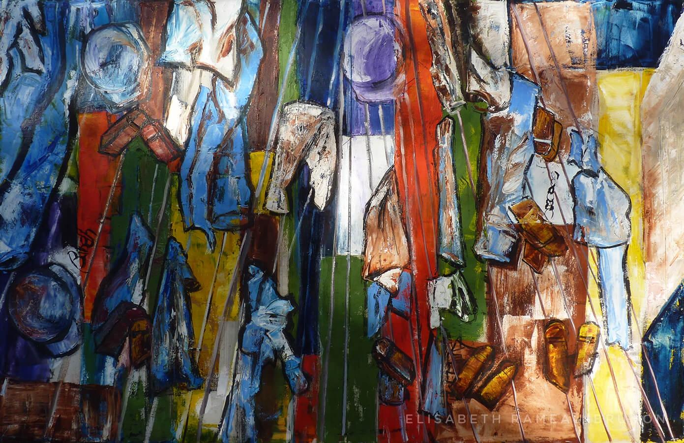 Toile représentant des cordes à linge avec des vêtements pendus.