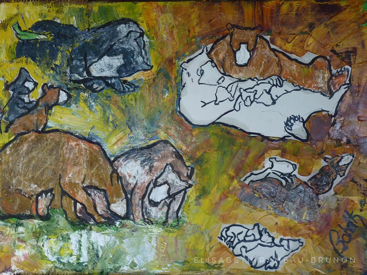 Œuvre représentant une famille d'ours.