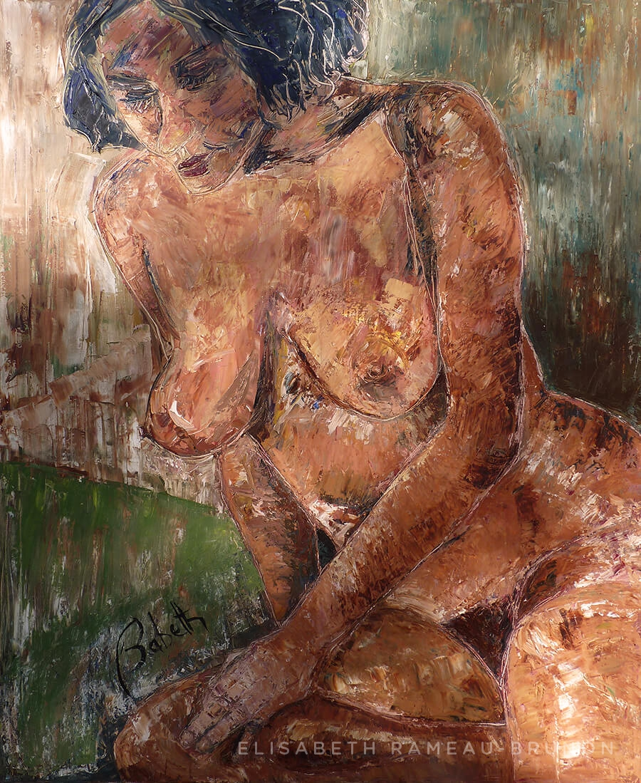 Toile représentant une femme nue.